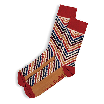 SOCKS - IN & OUT - AUSTRALIAN COTTON - Red / Tan / Main Image - 2-8