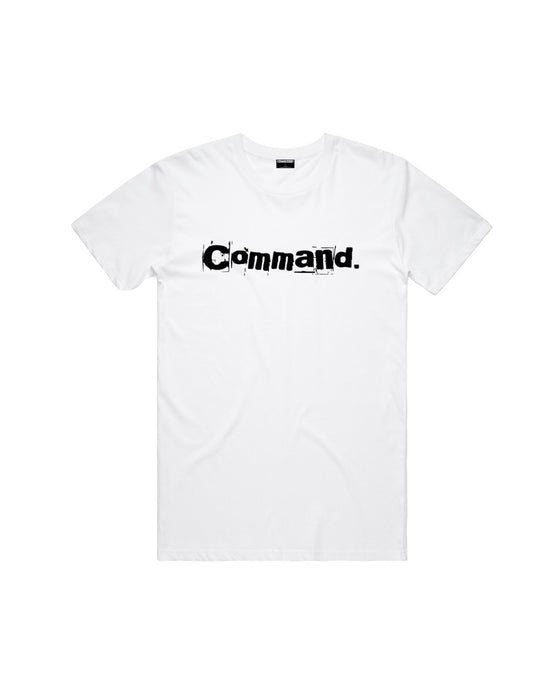 Command - White Broken Text Tee