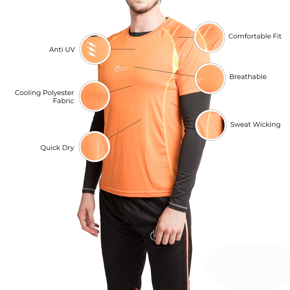 Men Orange T-Shirt - Fitup Life