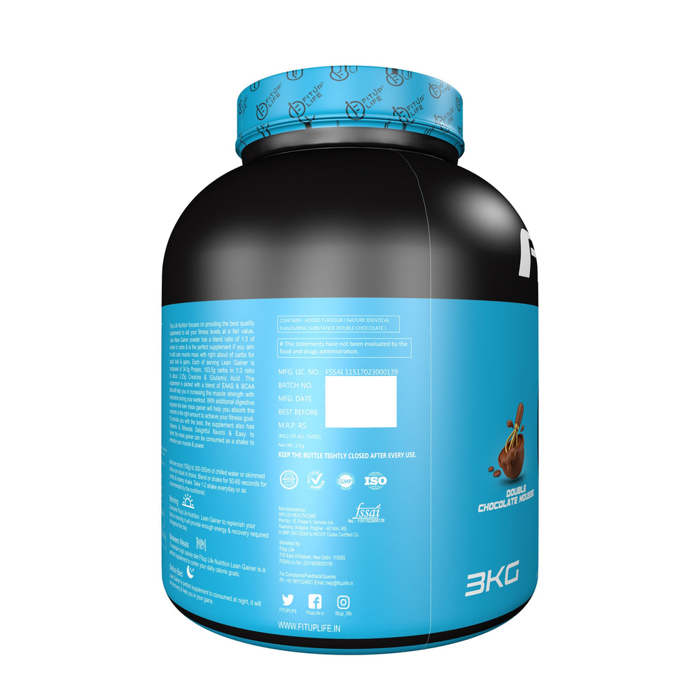 Lean Mass Gainer 3kg(Double Chocolate Mousse) - Fitup Life