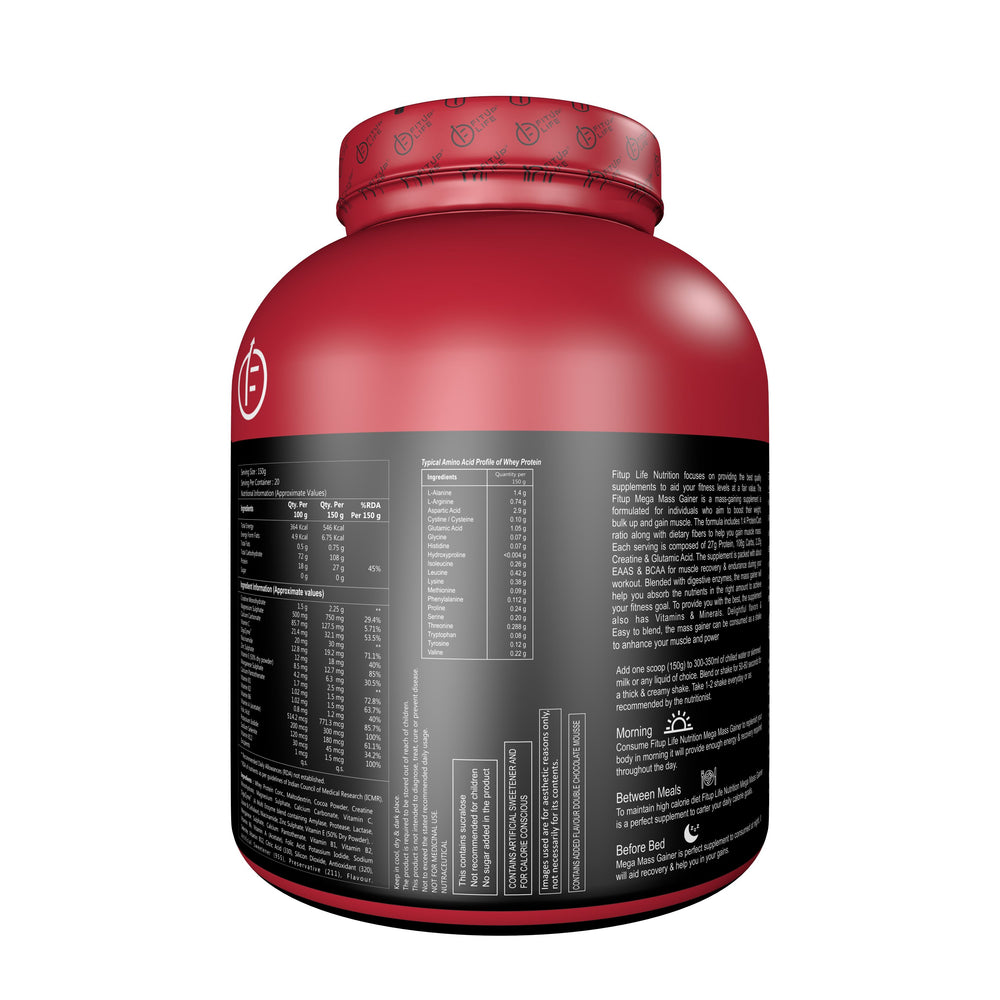 Mega Mass Gainer 3kg(Double Chocolate Mousse) - Fitup Life
