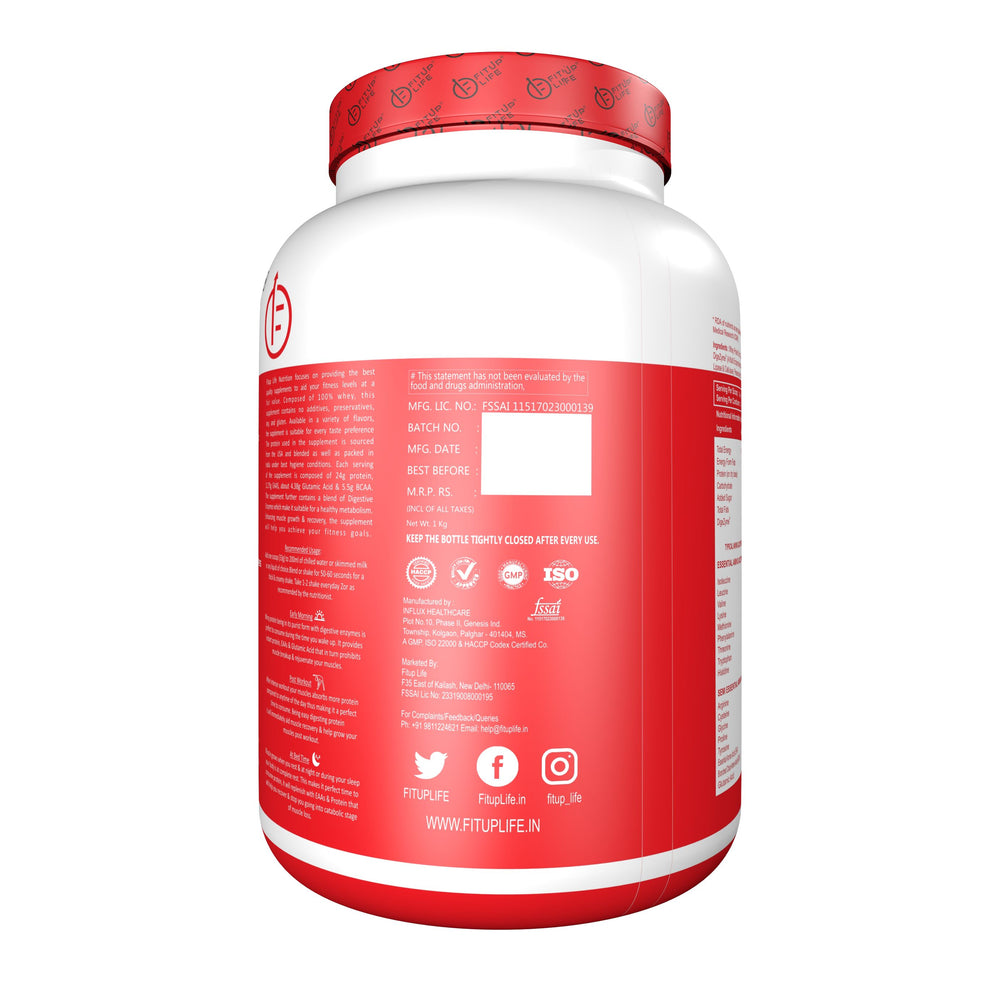 Whey Protein Concentrate 1kg (Flavoured) - Fitup Life