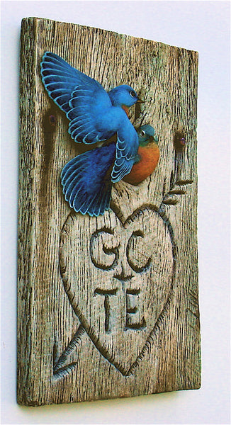 Eastern Bluebird Pair Personalized Sculpture