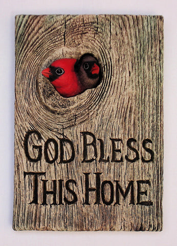 "Cardinal Pair ""God Bless This Home"""