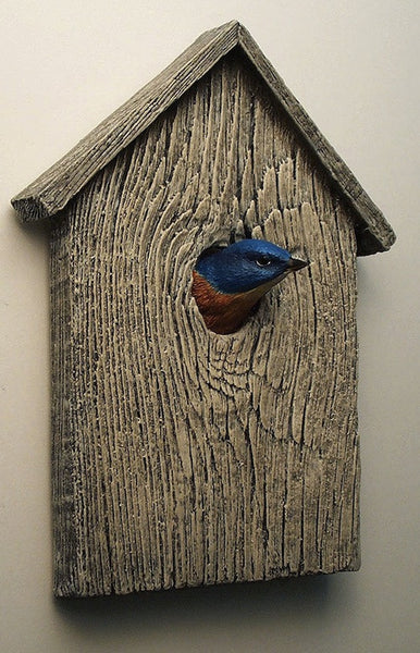 Eastern Bluebird Birdhouse Sculpture
