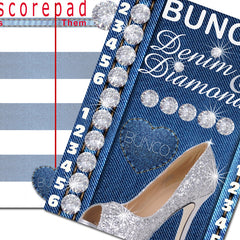Bunco Scorecard - Denim & Diamonds