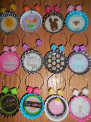 Easter Bottlecap Wine Charms