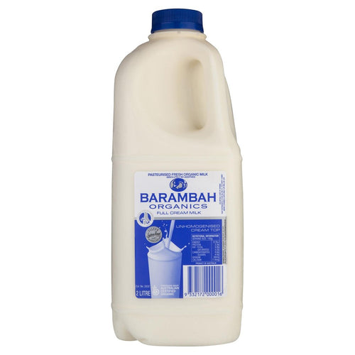 Barambah Organics Milk FULL CREAM 2lt