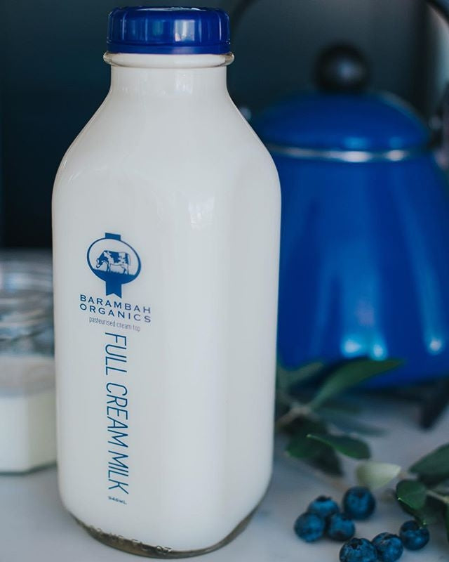 Barambah Organics *Glass* Full Cream Milk 1L