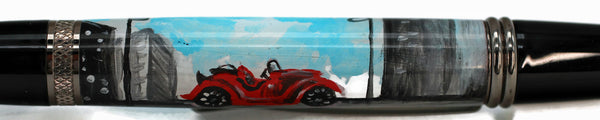 Hand Painted Red Convertible - 1089