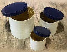 Load image into Gallery viewer, Spun Bamboo Round Jar with Lid ( set of 3)