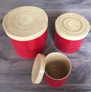 Spun Bamboo Round Jar with Lid ( set of 3)