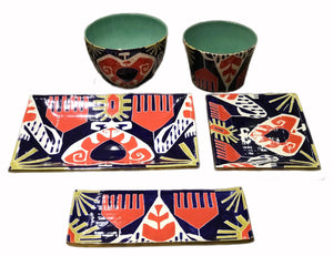 Red Ikat Bowls and Trays