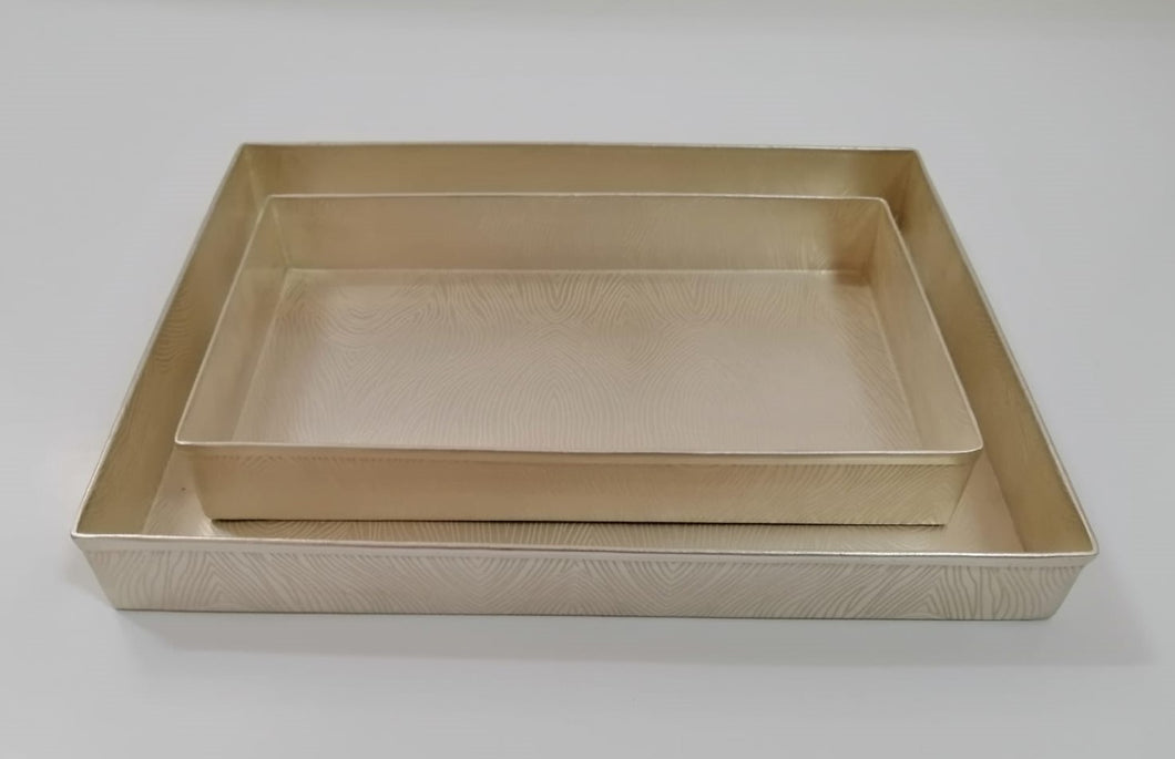 Nested Rectangular Tray Set - Matte Silver