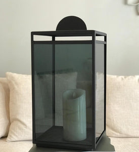 Glass Lantern - Black