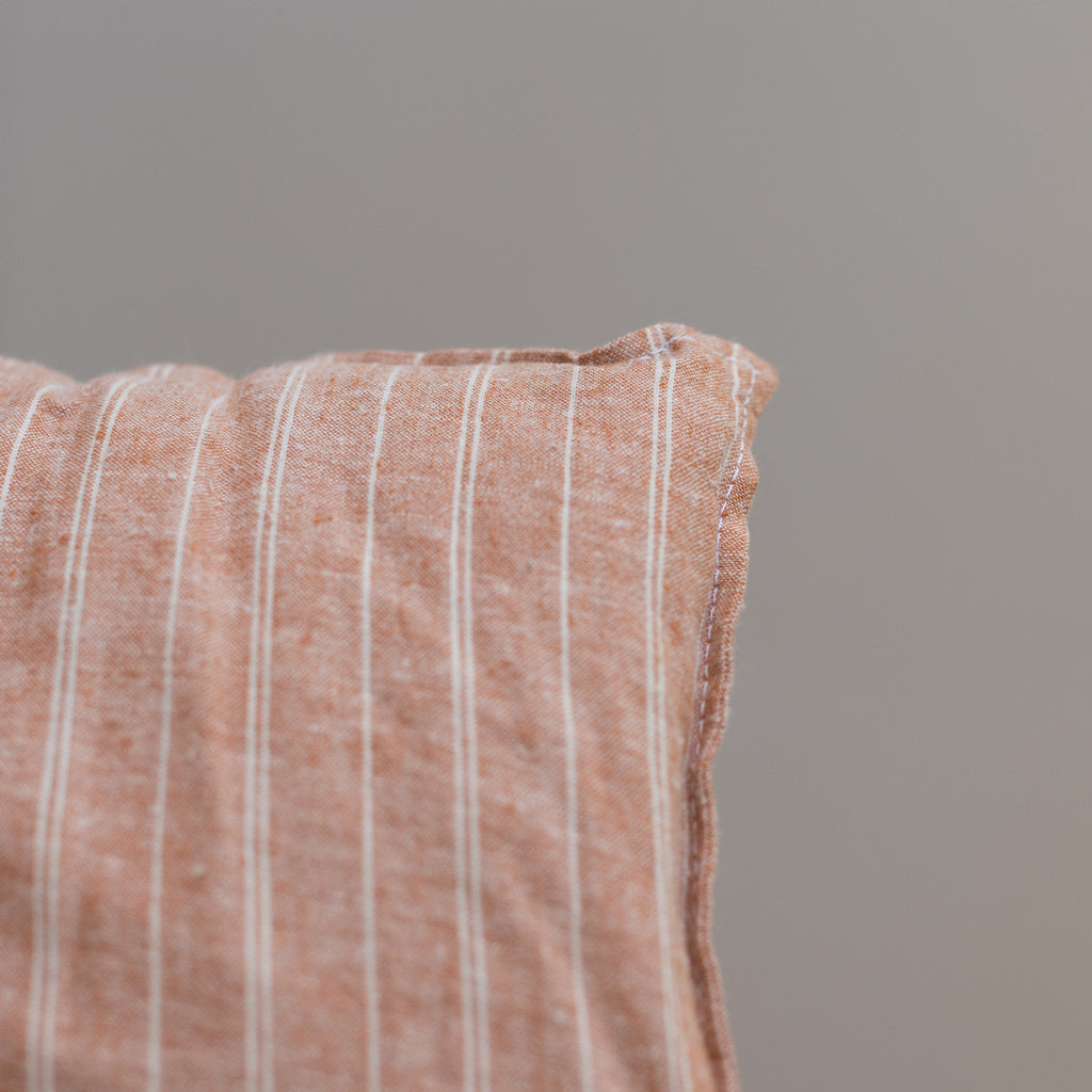 Terracotta Stripe - Organic Mini Cushion
