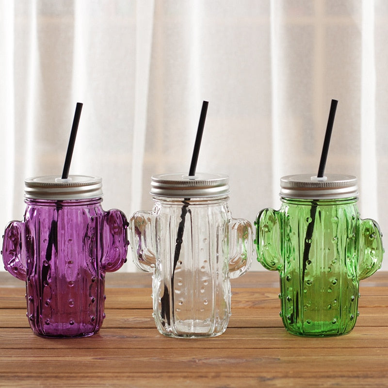 Quirky Cactus Mason Jar Mug with Lid and Straw