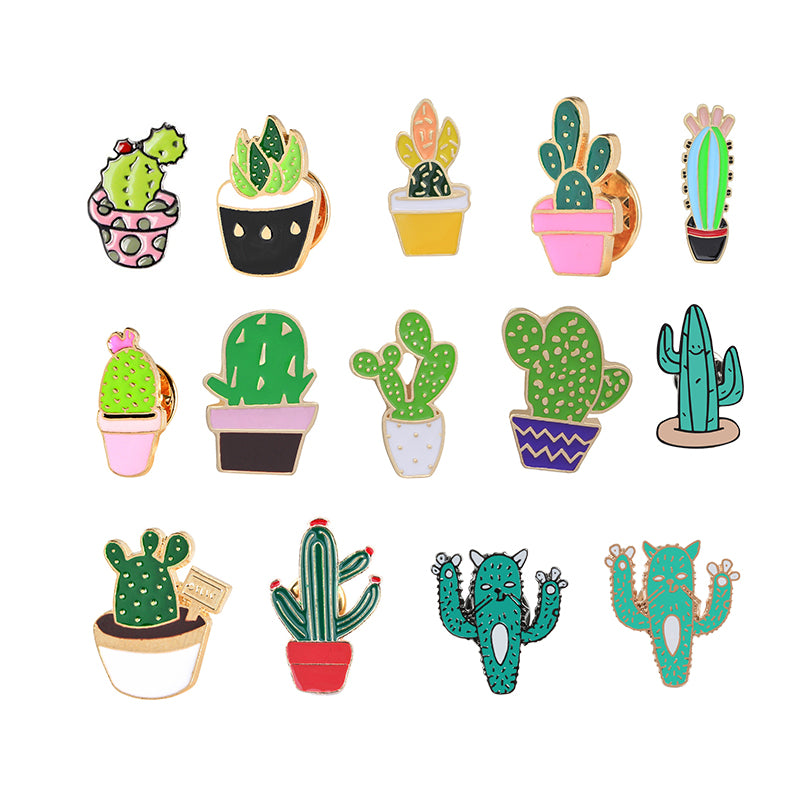 Adorable Cartoon Cactus Mini Brooches