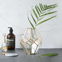 Golden Glass Geometric Vase - tasall