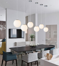 Modern Indoor White Glass Ball Pendant Lights - tasall