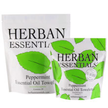 Herban Essentials Peppermint Essential Oil Towelettes