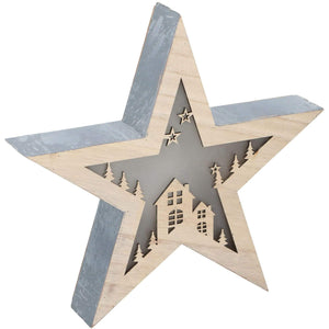 10 LED Christmas Star Wooden Decoration 8711252043425