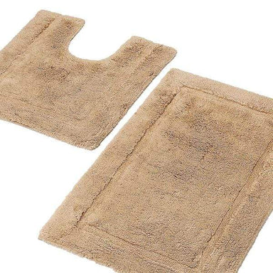 100% Cotton Bath Mat and Pedestal Set Beige - only5pounds.com