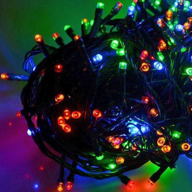 100 Multi Colour LED Chaser Lights - Green Cable - only5pounds.com