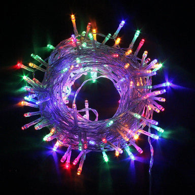 100 Multi Colour LED Static Chaser Fairy Lights  - Clear Cable - only5pounds.com
