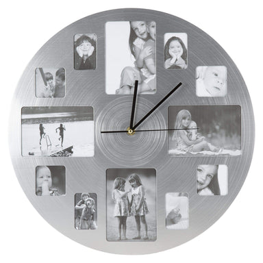12 Photo Silver Chrome Plated Wall Clock - 40cm - only5pounds.com