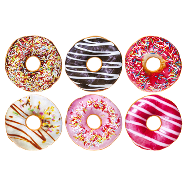 24cm Printed Donut Cushion - Assorted 5050565246578