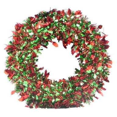 Multicoloured Deluxe Tinsel Christmas Wreath - 38cm - only5pounds.com
