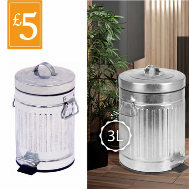 Silver Retro Dust Bin - 3L - only5pounds.com