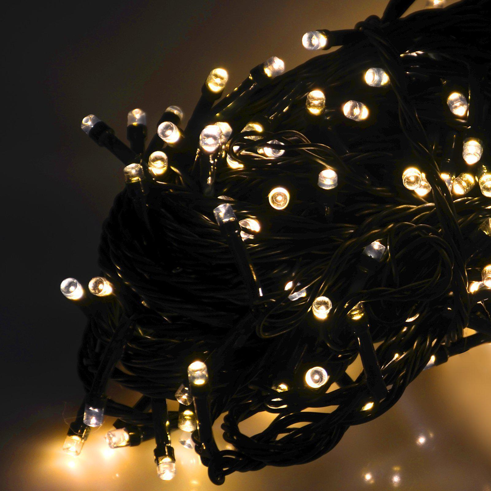 50 Warm White LED Chaser Battery Fairy Lights - Green Cable - only5pounds.com