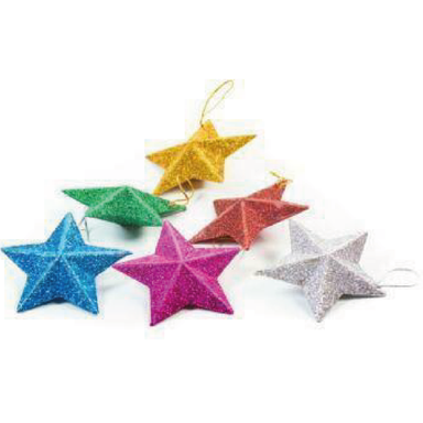 Multi Colour Stars Christmas Tree Decoration - 6 - only5pounds.com