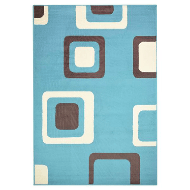 Blue Boxed Pattern Rug - 80 x 150cm - only5pounds.com