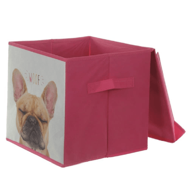 Canvas Storage Box 'Woof' Dog - 28cm - only5pounds.com