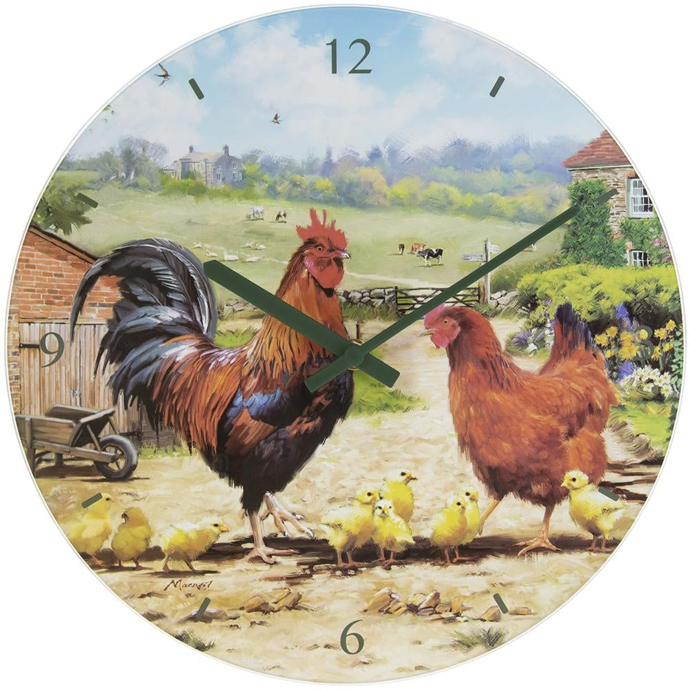 Cockerel & Hen Glass Clock - 30cm 5010792941769