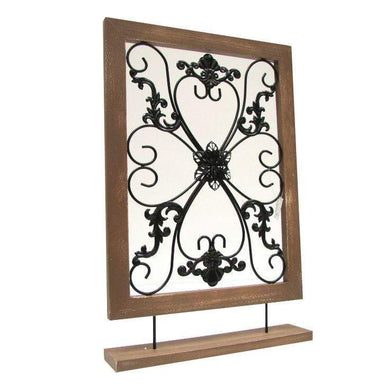 Wooden & Metal Decorative Window Screen - 57.5 × 38cm - only5pounds.com