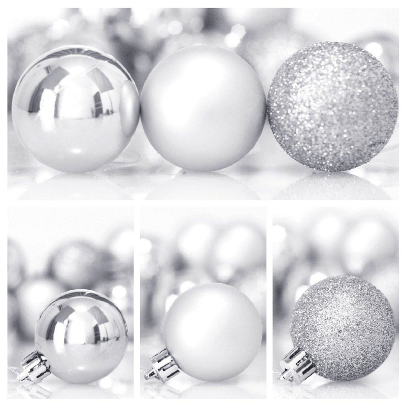 24 x 4cm Shatterproof Glitter Baubles - Silver - only5pounds.com