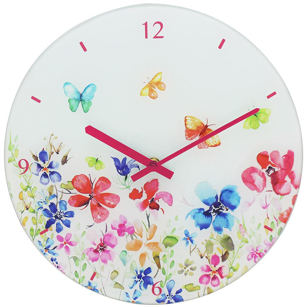 Butterfly Meadow Clock - 30cm - only5pounds.com