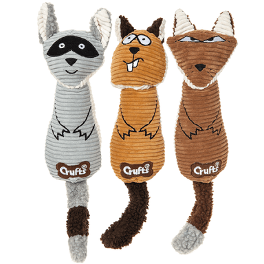 Crufts Squeaky Corduroy Animal  Dog Toy - Assorted Designs - only5pounds.com