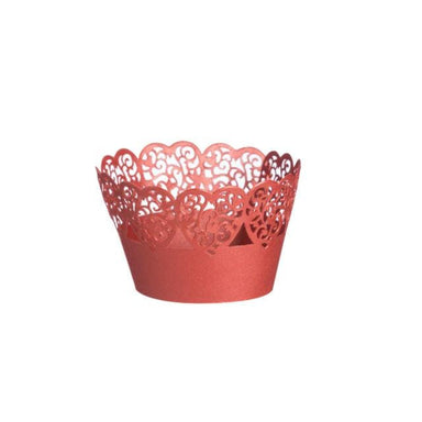 Cupcake Decorative Wraps Red Heart - Set Of 10 - only5pounds.com