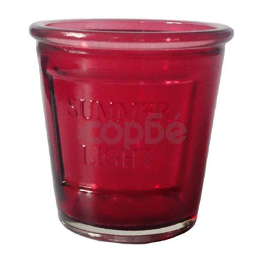 Glass Tea Light Candle Holder Summer Light - Red - only5pounds.com