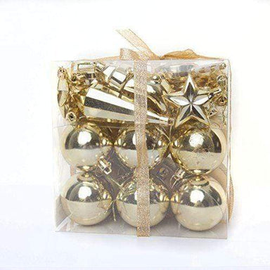 Gold Multi Finish Shatterproof Mixed Baubles - 45 Pack - only5pounds.com