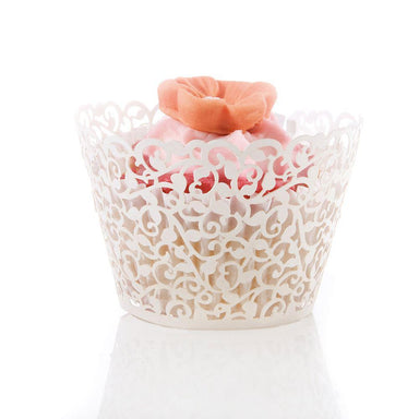 Laser Cut Cup Cake White Filigree Wraps (10) - only5pounds.com