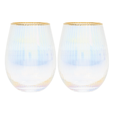Lustre Ribbed Stemless Wine Glasses - Set of 2 - only5pounds.com