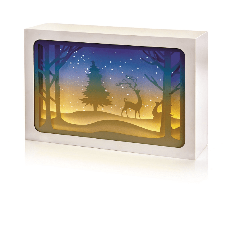 Paper Diorama with Reindeer Scene 4 LED - 21x14cm - only5pounds.com