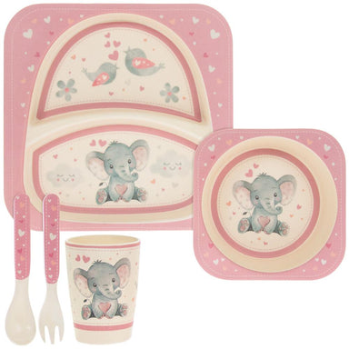 Pink Bird & Ellie Bamboo Eating Set - 5 Pieces - only5pounds.com
