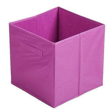 Purple Fabric Cube Storage Box - 31 x 31cm - only5pounds.com